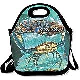Wicked Crab facile da trasportare grandi e spessi neoprene lunch Bags lunch Tote Bags Cooler calda calda borsa con tracolla per le donne teenager ragazze bambini adulti