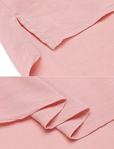 Coofandy Damen Elegant Hemdbluse Langarmbluse mit V-Ausschnitt und angedeutetes Revers Kurzer Zierknopfleiste Schlichtes Hemd Lockeres Langarmhemd Rosa