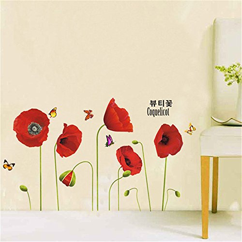 Cinlla® fiori rossi vinile adesivi da parete murali autoadesivi smontabili arte adesivo per soggiorno camera da letto home decor diy wall stickers