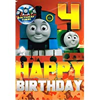 Thomas the tank engine age 4 birthday card and badge