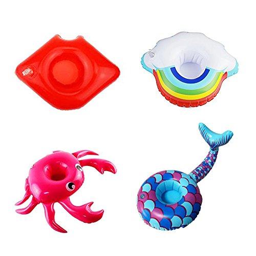 Ruiting Aufblasbare Schwimmen Wasser Float Drink Cup Halter Coaster Sommer Pool Party Supplies Halloween Weihnacht Geschenk(4 Arten: Wolke, Krabbe, Meerjungfrau, Lippen)