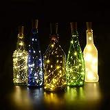 BizoeRade Flaschenlicht,6 Stück 39inch 20 LED Warmweiß Kupferdraht Lichter String Starry LED Lichter für Flasche DIY, Party, Dekor, Weihnachten, Halloween, Hochzeit oder Stimmung Lichter - 3