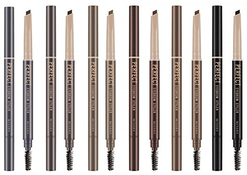 Missha - Waterproof Perfect Eyebrow Styler - Augenbrauenstift mit Bürste - Augenbrauenfarbe - Eyebrow Pen with Brush - Brauenstifte & Brauenpuder - Make-up Sets - Eyeliner / Brauenstift - Permanent Make Up (02 Grey) (Brow Pomade Soft Brown)