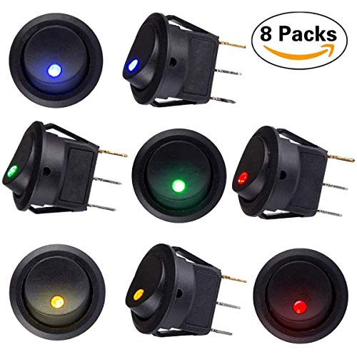 sunerly 8 PCS DC 12V 20A Car Boot Truck Trailer Auto KFZ beleuchtet Runde Schalter Wippschalter Button Toggle Ein-Ausschalter mit roter SPST Switch mit 4 Farbe LED Dot Light -