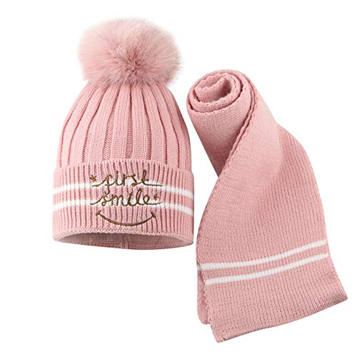 uBabamama_Hat Hot Baby Wintermütze, warm, Dicke Streifen, gestrickt, mit Buchstaben Bedruckt, Haarball, Mütze und Schal, Rose, Einheitsgröße