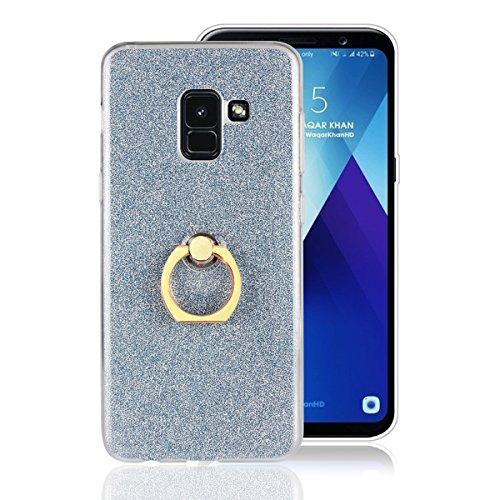 Artfeel Coque pour Samsung Galaxy A8 2018, Bling Briller Clair Transparent Ultra Mince Couverture,Doux TPU Silicone avec Anneau Titulaire Stand Antichoc Arrière Housse,Bleu Ciel