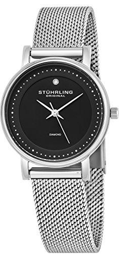 Stuhrling Original Classic Ascot Lady Casatorra Elite - Reloj de cuarzo, para mujer, con correa de acero inoxidable, plateado