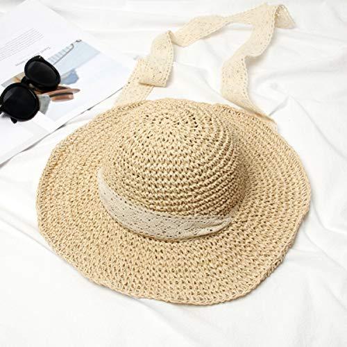 HSLPLX Handmade Weave Bast Sonnenhüte für Frauen Ribbon Lace Up Large Krempe Strohhut Outdoor Beach Summer Caps -