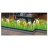 Sommer-Frühlings-Fensteraufkleber- Wildwiese mit Blumen und Insekten - selbsthaftende Fenster-Bordüre - saisonale Fenster-Deko