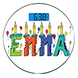 Pèse-personne numérique de précision Ronde Emma Dimensions précises de poids de la balance de salle de bains en verre trempé ultra mince,Conception de prénom féminin populaire avec beaucoup de couleur...