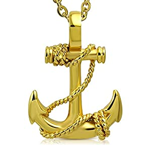 Bungsa Anker mit Seil Pendant Edelstahl Gold (Anchor Marine Yacht Amulett Kettenanhänger Medaillon Charm Beads Chirurgenstahl Damen Herren Schmuck)