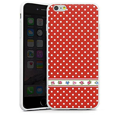 Apple iPhone X Silikon Hülle Case Schutzhülle Pünktchen Tapete Blumen Silikon Case weiß