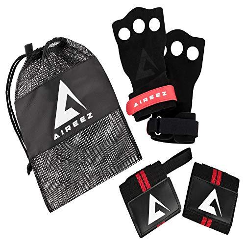 Aireez 2 in 1 Crossfit - Fitness Handschuhe & Handgelenk Bandagen Set für Damen & Herren (Medium, Rot-Schwarz) rutschfest & Atmungsaktiv für Training