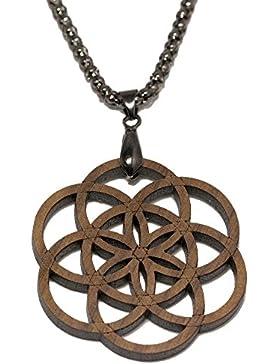 Samen des Lebens - Holzanhänger - Amulett mit Halskette