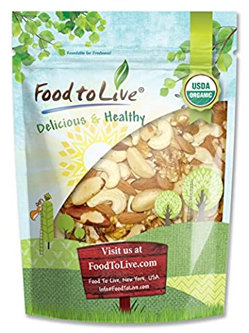 Food to Live Healthy Mix of Certified Organic Raw Nuts (Cashews, Brazil Nuts, Walnuts, Almonds) (1 Pound)