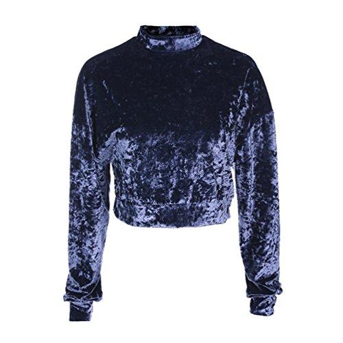 YiLianDa Donna Felpa Spessa Più Maglione Maniche Lunghe Velluto T Shirt Tops Mode Autunno Inverno Blu