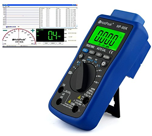 HoldPeak HP-90K Digital Multimeter CAT IV mit USB, Software, Automotive Funktionen, Beleuchtung, Voltmeter, Messkabel, Grau Blau Automotive Digital-multimeter