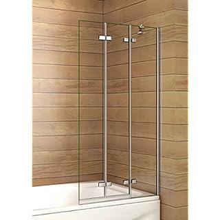 Aica Luxury 1000mm Shower Bath Screen Glass Panel 3 Fold, Metal, Chrome, 100 x 2.6 x 140 cm