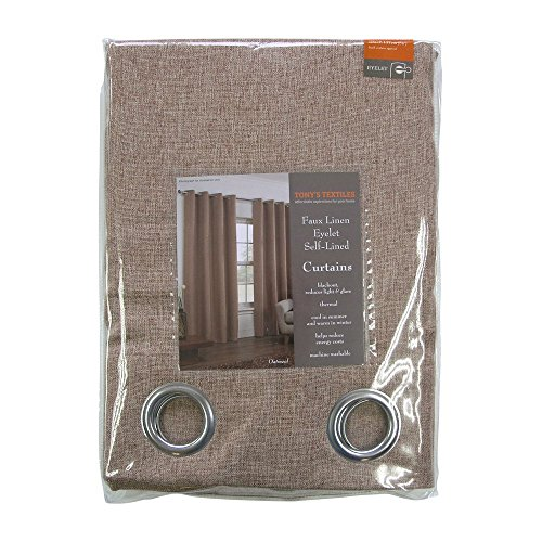 Tony's Textiles Linen Look Textured Thermal Blackout Ring Top Eyelet Curtains – Mocha Oatmeal (90″ Wide x 90″ Drop)