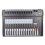 ammoon Mixer Audio Console di Mixaggio 12 Canali 120S-USB Mic Line Ingresso XLR USB EQ a 3 Bande Alimentazione Phantom 48V con Alimentatore