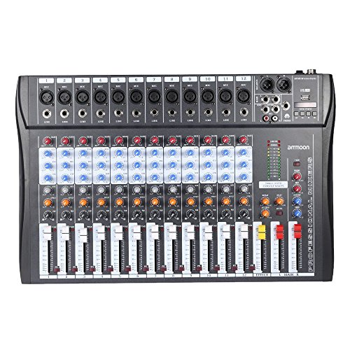ammoon Mixer 60S-USB a 6 Canali Mixer Audio 3 Band EQ XLR USB Ingresso 48 V Phantom Power con Alimentatore di Energia 12 Canales