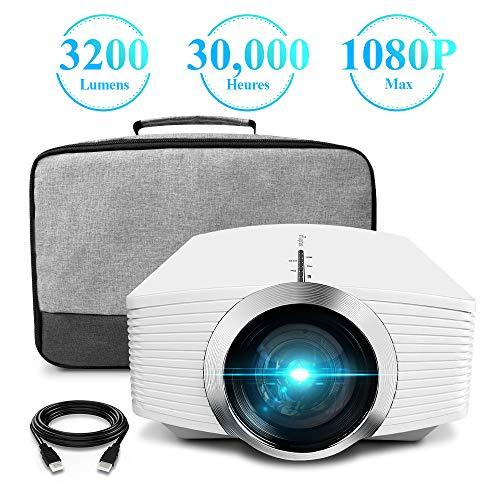 Vidéoprojecteur, ELEPHAS 3200 Lumens LCD Mini Projecteur Portable, Supporte 1080P Rétroprojecteur...