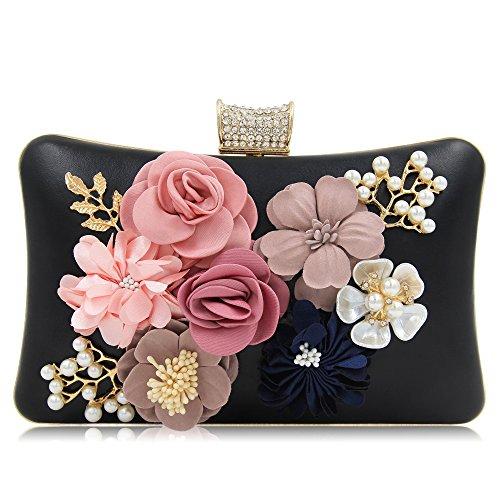Milisente Donna Borsa Sera Fiore Borsette Pochette Elegante Clutch Bag (Oro) Nero