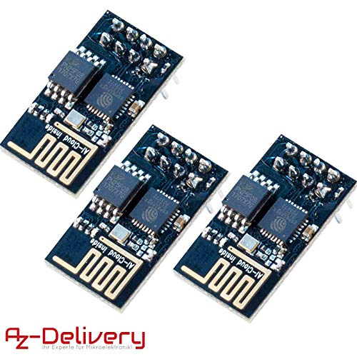 AZDelivery ⭐⭐⭐⭐⭐ 3 x ESP-01 esp8266 WiFi Modulo per Arduino, Raspberry Pi e Microcontroller con eBook Gratuito!