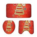 Biback 3PCS Decorativo Natale, Tappeto Natalizio Antiscivolo con piedistallo Natalizio + Coperchio Copri-WC + Tappetino da Bagno di Futurepast