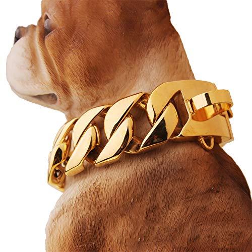 Moyyyyy 32mm breit hip hop Gold ton 316L Edelstahl hundekette hundekübelkette pet personalisierte schneiden Curb kubanischen gliederkette 16-28