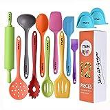 TTLIFE Utensili da cucina in silicone 12 pezzi colorati con girello, spatola, zuppiera, spazzola,...