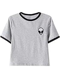 Mujeres Manga Corta Camisetas Verano Algodón Alien Impresión T Shirt Blusas Camisas Tops Personalidad