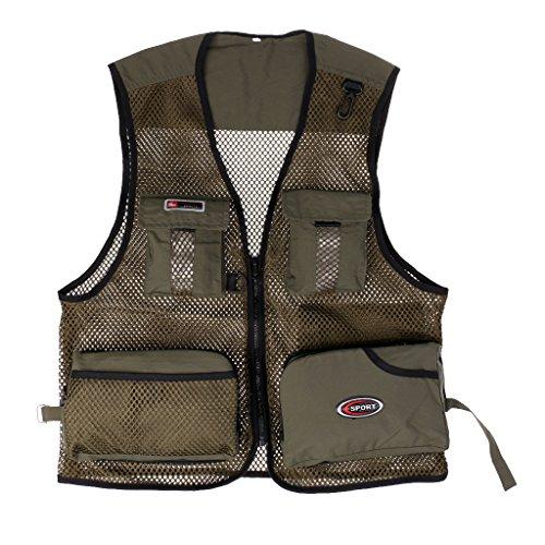 MagiDeal Chaleco de Malla de Multi-bolsillo para Pesca Secado Rápido Ropa de Fotografía Chaqueta Almacenamiento de Accesorios - Ejercito verde, XL