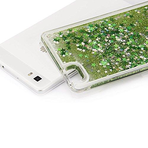 Huawei P8 Lite Custodia PC Back Cover in Plastica Trasparente 3D Glitter Scintillanti Stelle Quick and Mode Liquido Rigido Bling Della Stella Caso Transparent Sottile Anti Scivolo Case Protettiva Slim verde