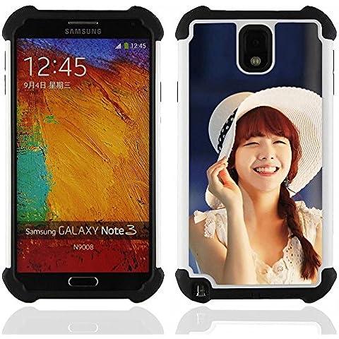 Hypernova Ibrido Heavy Duty Armatura antiurto Cover silicone cassa caso robusto Per SAMSUNG Galaxy Note 3 III / N9000 / N9005 [Carino Koeran Ragazza Asiatica]
