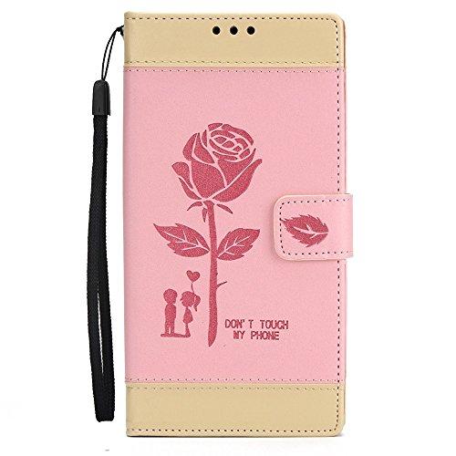 EKINHUI Case Cover Dual Color Matching Premium PU Leder Flip Stand Case Cover mit Card Cash Slots und Lanyard für Sony Xperia XZ ( Color : Brown ) Pink