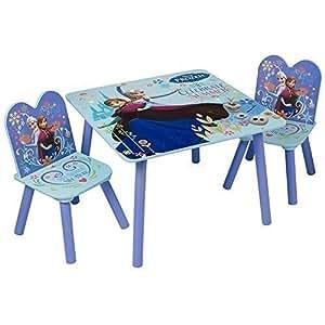 Disney - Ensemble Table et Chaise Noel Bois Bleu Fille La Reine des Neige Elsa Anna