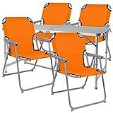 Mojawo  5-TLG. Campingmöbel Set Alu 120x60x58/70cm 1x XXL Campingtisch mit Tragegriff + 4 Campingstühle Orange Stoff Oxfort