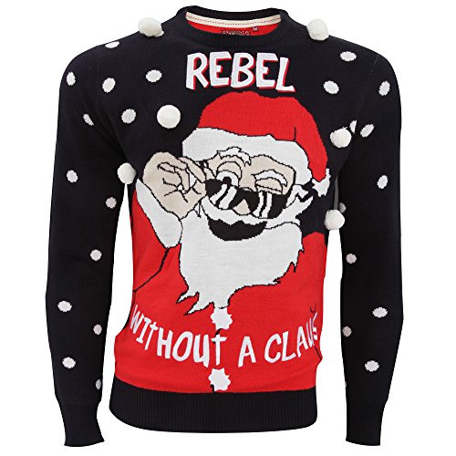 "Brave Soul - Pull à motif ""Rebel Without A Claus"" - Homme Bleu marine/Rouge/Blanc"