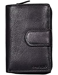 Women's Genuine Leather Wallet-Long Purse Wallet With Multiple Card Slots,Zip Pocket And Note Compartment-Black...