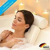 SilverRack Badewannenkissen mit Saugnäpfen als Badewannen Zubehör (weiß) - Kissen für Badewanne zum Entspannen u. Wohlfühlen - Badekissen für perfekte Auszeit - Nackenkissen für Badewanne