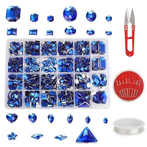 MWOOT Strasssteine zum Aufnähen, 700Stk Funkelnd Steine für Kleidungsstück und Basteln, Schmucksteine Bastelset mit Schere Nadel Faden, Schimmernd Glitzersteine Blau Crystal