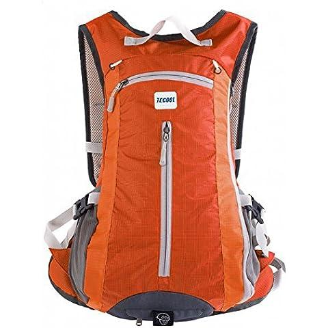 TECOOL 15L Ultra Il Peso Leggero Sport Esterno Dello Zaino Ciclismo Daypack Arrampicata Escursionismo Zaino Riding Packsack Treking Zaino (Arancione)