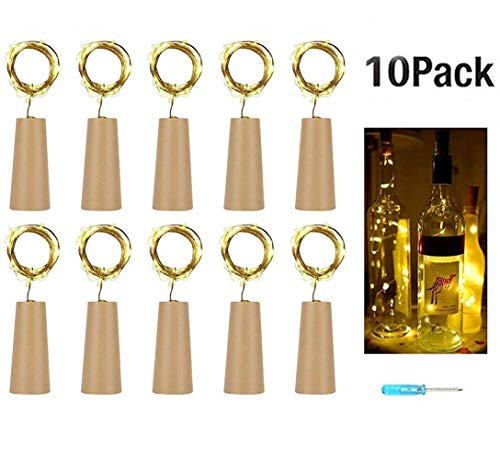 (10 Stück 20LED 2M Flaschen-Licht Warmweiß,Flaschenlichter Lichterketten Nacht Licht Weinflasche Flaschenlicht Kork Flaschen Licht LED Lichter Lichterkette Flaschen DIY,romantische Beleuchtung/Party Hochzeit oder Stimmung Lichter (Warmweiß))