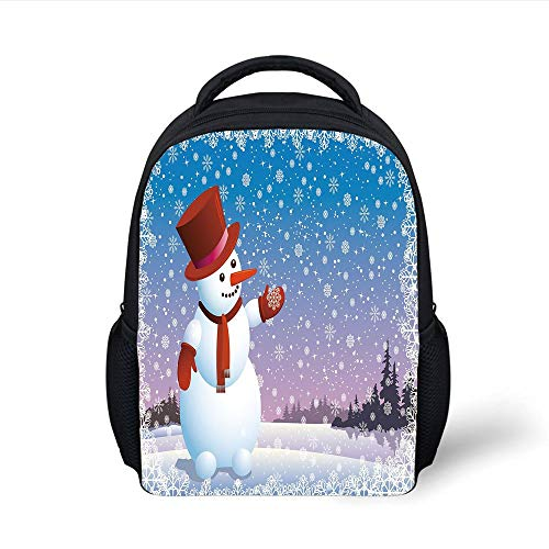 Kids School Backpack Snowman,Cartoon Happy Snowman Looking at The Snowflake ICY Winter Scenery Evergreen Woods Decorative,Multicolor Plain Bookbag Travel Daypack Evergreen Cup