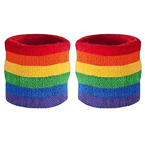 Suddora Handgelenk Schweißband, Baumwoll-Frottee, für Sport (1Paar), regenbogenfarben