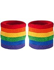 suddora rayas muñeca Muñequeras (Par) arco iris