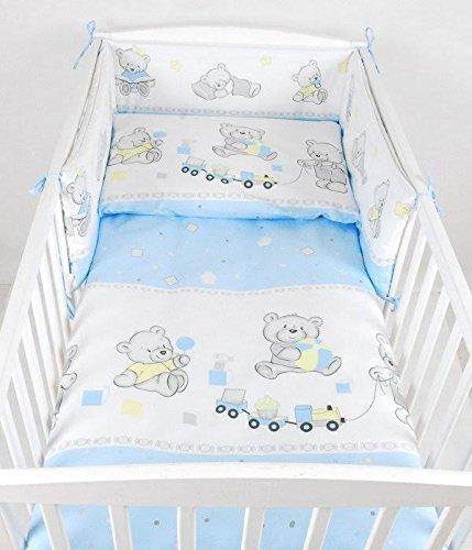 BABYLUX Bettwäsche Bezug 2 Tlg. 100 x 135 cm Kinderbettwäsche Bettwäsche Bettset Babybettwäsche BÄREN (70. Bär Cookie Blau) (Bettwäsche-set Für Ein Kinderbett)