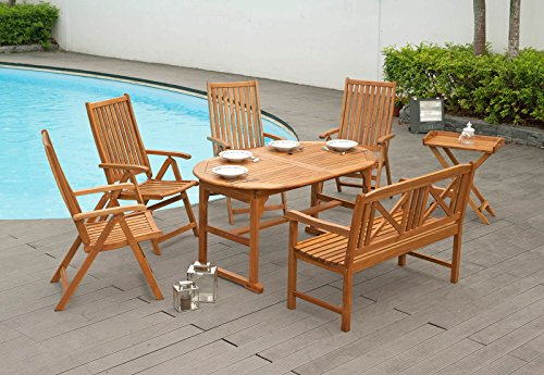 Gartenmöbel 1 Ausziehtisch 150/200 cm 4 Hochlehner 1 Gartenbank Set aus Akazienholz natur