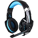 PC Gaming Headsets, iRush PS4 Gaming Headphones with Noise Cancelling Mic for Gamers, Stereo Surround Sound Deep Bass Headseet, LED Lights, 3.5mm Over Ear Lightweight Gaming Earphones for PlayStation 4, Computer, PC, Tablet and Mobile Phone (Black/Blue)